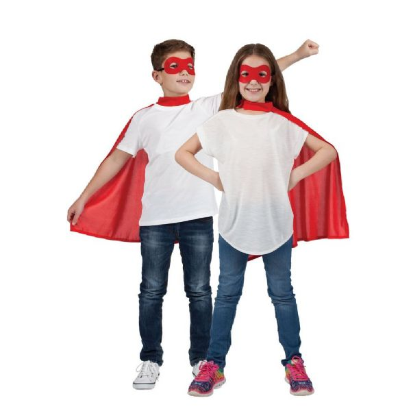 Childs Super Hero Cape & Mask - Red